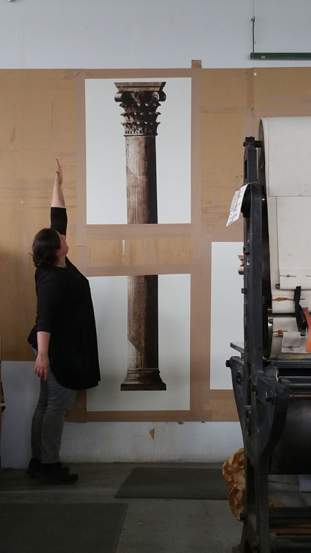 Printing at KKV Stockholm. The Portal of Palmyra is slowly getting rebuild.